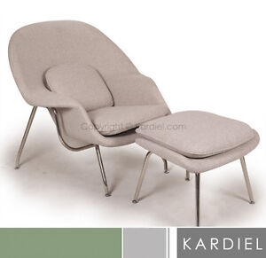 Swan Chairs on Womb Chair Ottoman Khaki Twill Danish Mid Century Modern Lounge Retro
