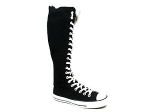 womens converse all black canvas knee high lace up