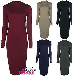 Plain Black Dress on Dress On Turtle Polo Neck Long Sleeve Bodycon Midi Dress Maxi Dresses
