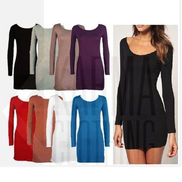 Womens Long Sleeve Bodycon Dress Ladies Long Top Tunic
