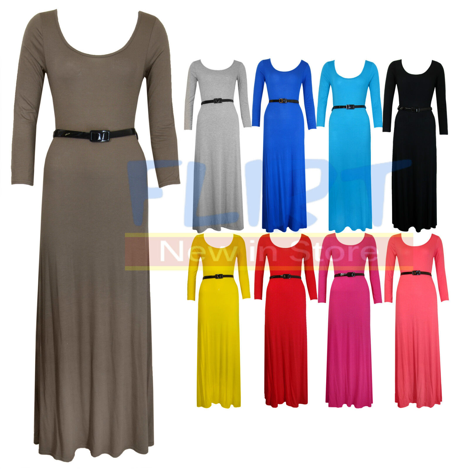 WOMENS LONG SLEEVE JERSEY BELTED FULL MAXI DRESS LADIES TOP SKIRT DRESSES NEW