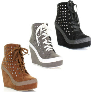 womens sports luxe wedge trainer lace up shoes boots. Black Bedroom Furniture Sets. Home Design Ideas