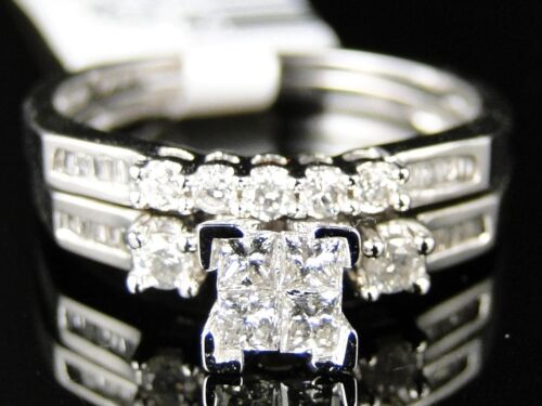 WOMENS WHITE GOLD PRINCESS CUT DIAMOND ENGAGEMENT BRIDAL WEDDING RING SET in Jewelry & Watches, Engagement & Wedding, Engagement Rings | eBay