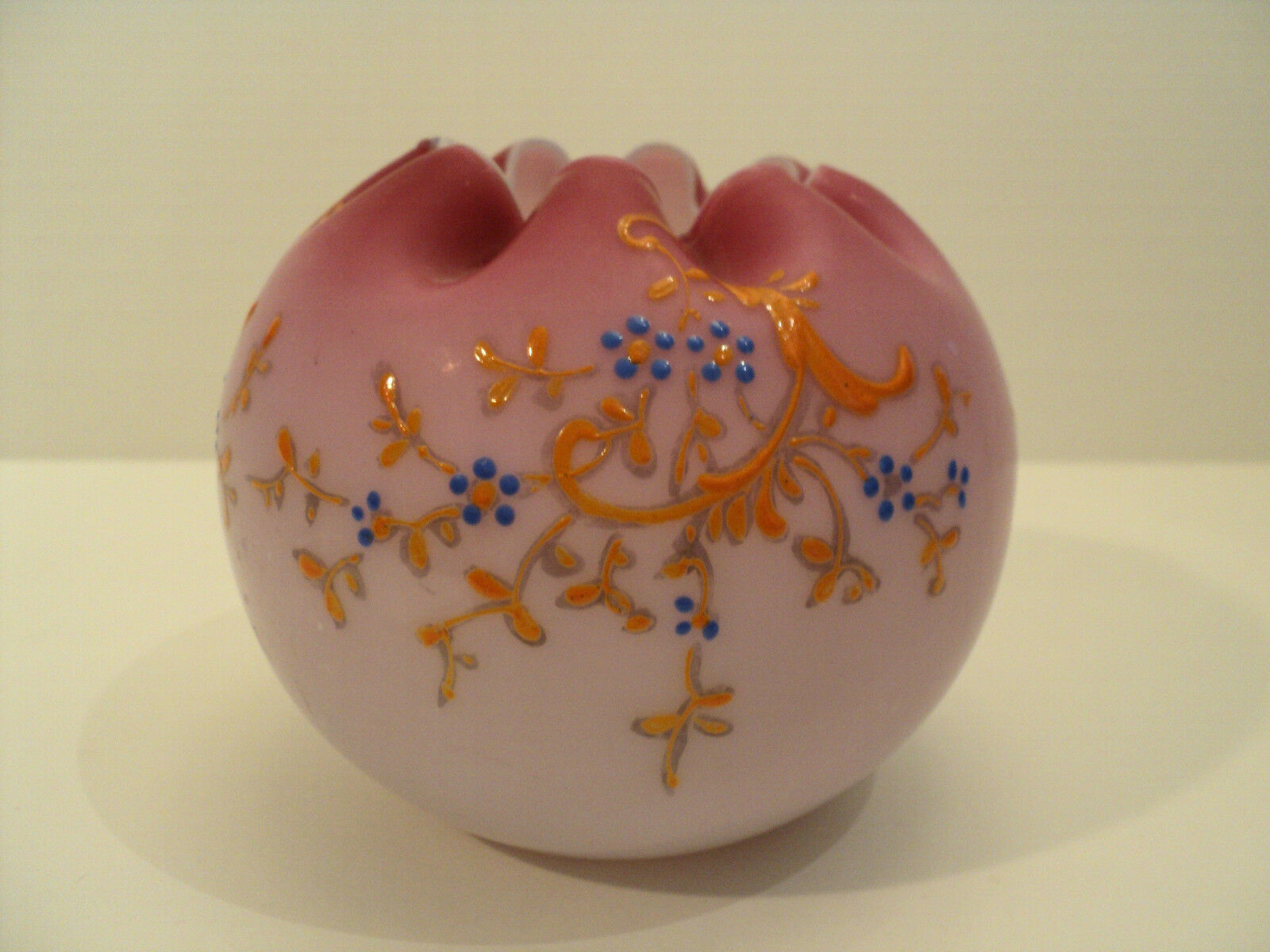 VICTORIAN ERA PINK SATIN GLASS ROSE BOWL with ENAMELED DECORATION
