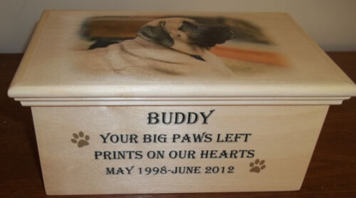 WOODEN PET URN WITH PICTURE in Pet Supplies, Dog Supplies, Pet Memorials | eBay