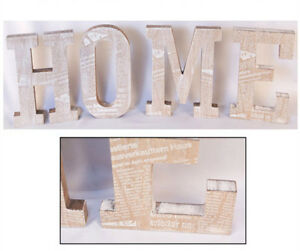 Wooden word letters 39 home 39 shabby chic vintage wall plaque for Furniture 5 letters