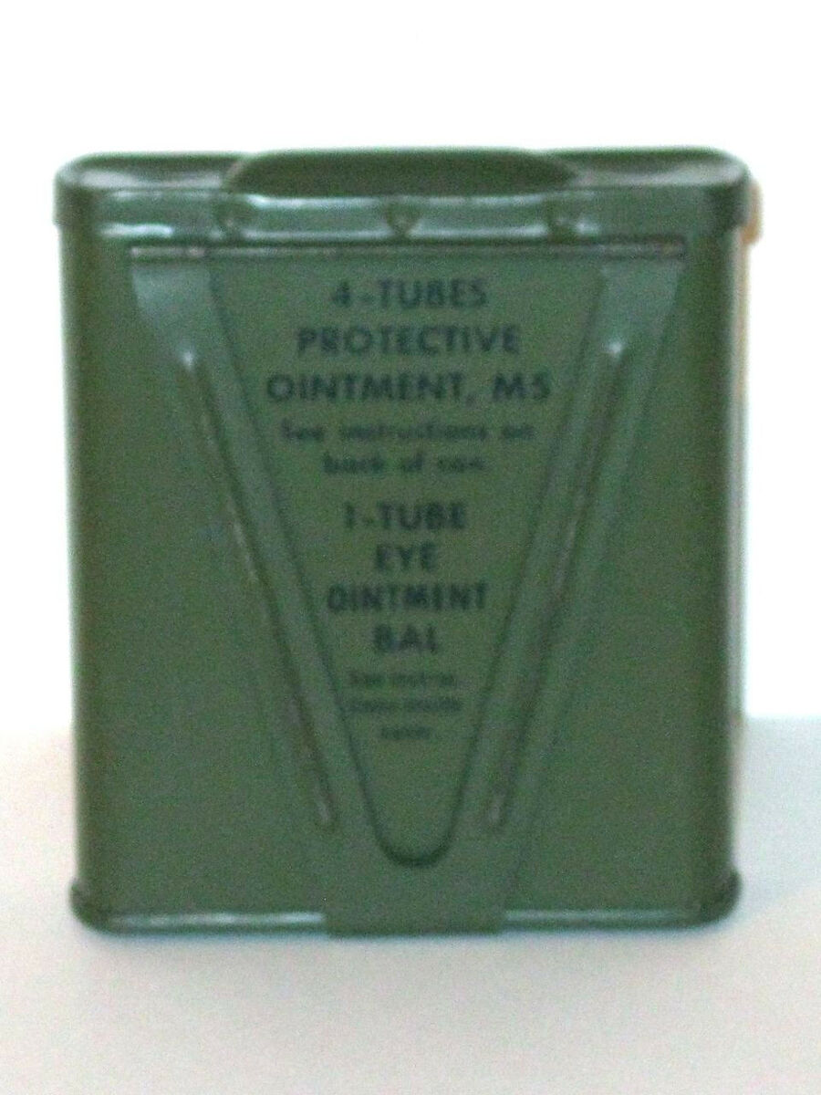WWII US Army Medical First Aid Kit Tin Ointment M5 Decontamination Eye Gas