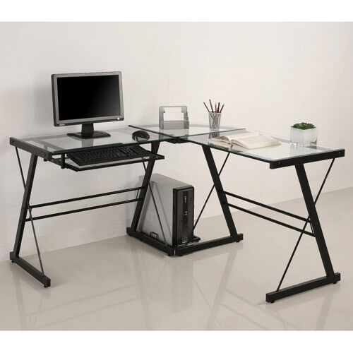Glass Metal L Shaped Corner Computer Desk Home Office Furniture