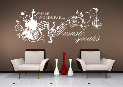 Wall Decal Music Speaks - Vinyl Wall Quote Sticker Art in Home & Garden, Home Decor, Decals, Stickers & Vinyl Art | eBay