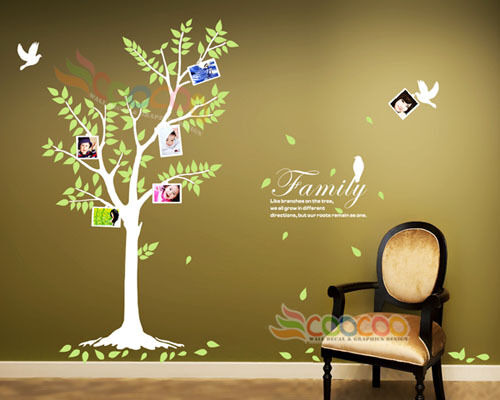 """Wall Decal Sticker 74"""" Birds Frames Tree w Quote Family Like Branches on A Tree"""