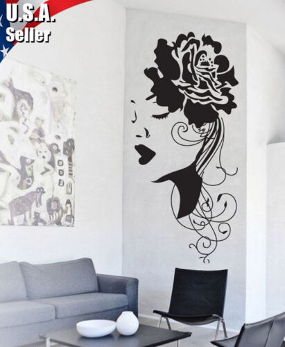 Wall Decor Removable Mural Art Vinyl Decal Sticker Flower Girl Women x102 in Home & Garden, Home Decor, Decals, Stickers & Vinyl Art | eBay