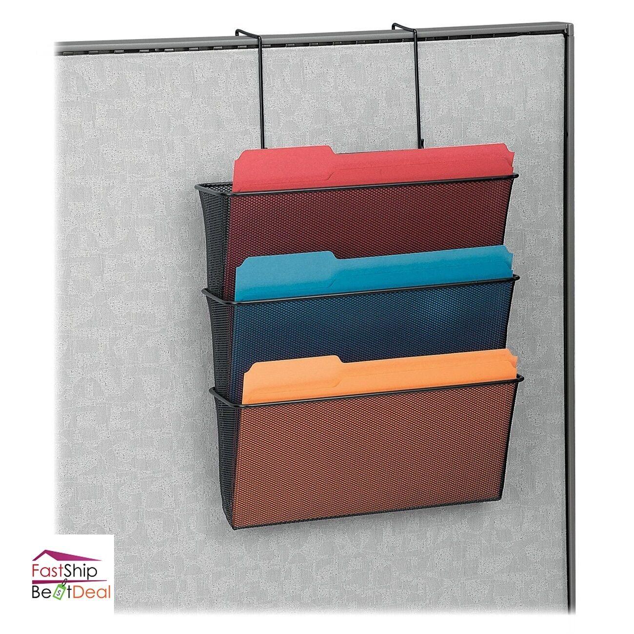 Wall Mount Hanging File Folder Organizer 3 Pocket Office