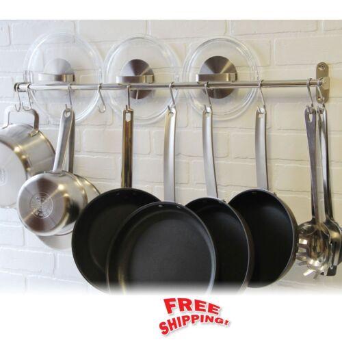 Wall Mount Pot Rack Hook Stainless Steel Kitchen Hang Utensils Pan Lid Organizer