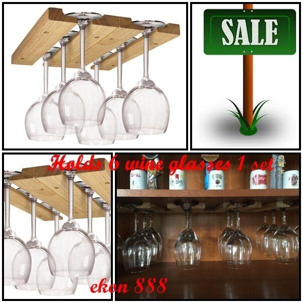 Wall Mounted Wood Wine Glass Holder Rack Bar Shelf Storage Under Cabinet Decor Ebay