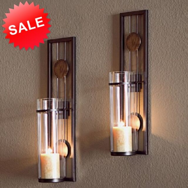 Wall Sconces Decorative Accents : Candle Wall Sconce Holder Metal Set 2 Glass Pair Decor Vintage Contemporary Art eBay