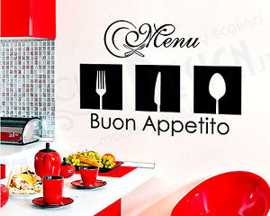 Wall Stickers Adesivi Murali Cucina Men Menu Buon