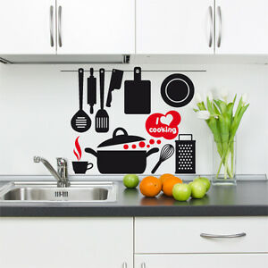 00541 wall stickers adesivi murali utensili cucina i love for Stickers cucina