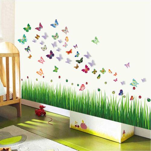 Colorido hierba 3d lila mariposas mariquitas adhesivo for Mural de flores y mariposas