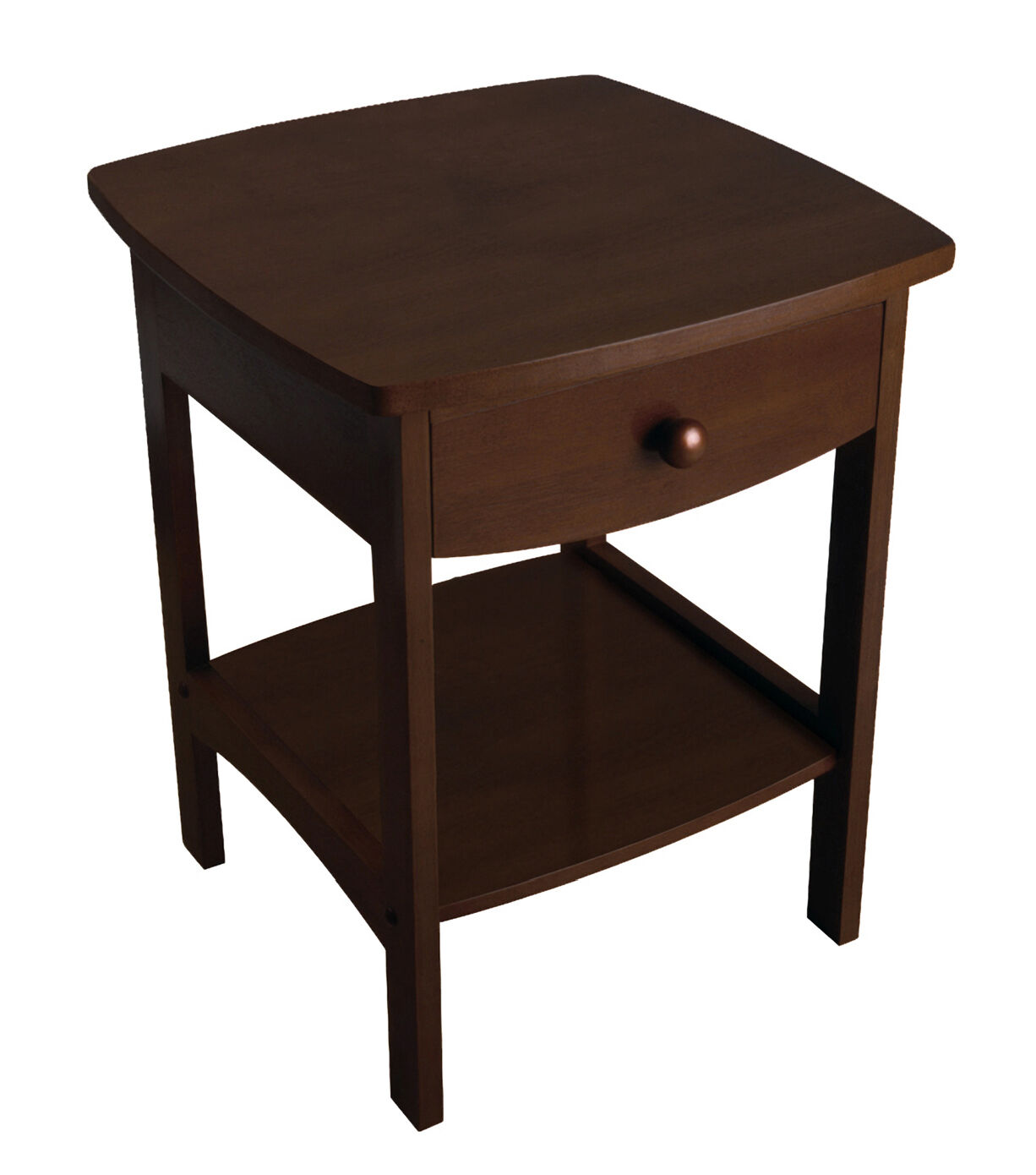 Walnut brown curved end table night stand w one drawer 22 for 10 inch wide side table
