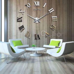 ... DIY Design Wanduhr Wohnzimmer Deko 3D Spiegel Silber Neu XXL eBay