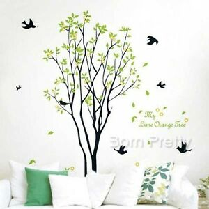 wandaufkleber fr hling baum vogel wandsticker dekoration wandtattoo wanddeko ebay. Black Bedroom Furniture Sets. Home Design Ideas