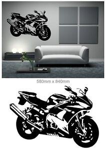 Wandaufkleber wandtattoo motorrad yamaha r6 05 schwarz ebay - Motorrad wandtattoo ...