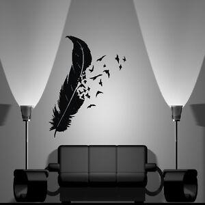 Wandaufkleber wandtattoo wohnzimmer schlafzimmer vogel feder v gel dekor 123 ebay - Wandtattoo feder ...