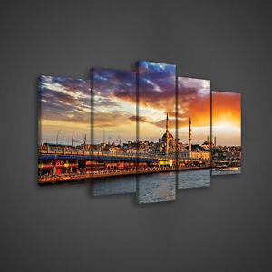 Wandbild-Leinwandbild-Poster-Orange-Stadt-Istanbul-Bucht-Wasser-Bau-14N892S17