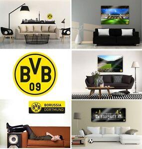 wandbild wandtattoo glasbild wanddeko fanshop fanartikel bvb borussia dortmund ebay. Black Bedroom Furniture Sets. Home Design Ideas