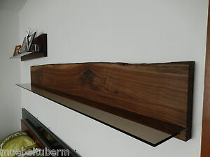wandboard nussbaum massiv holz board regal glasregal regalbrett neu baumkante ebay. Black Bedroom Furniture Sets. Home Design Ideas