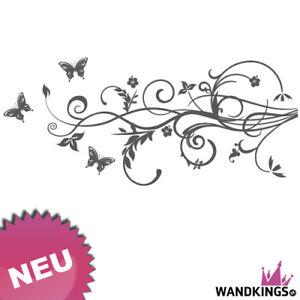 wandkings wandtattoo schmetterling hibiskus ranke blume hawaii bl te 100x43cm ebay. Black Bedroom Furniture Sets. Home Design Ideas