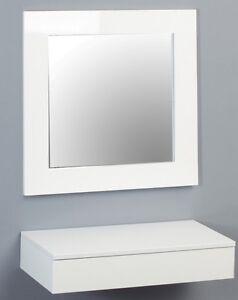 wandkonsole mit spiegel lars kora hochglanz wei schublade. Black Bedroom Furniture Sets. Home Design Ideas