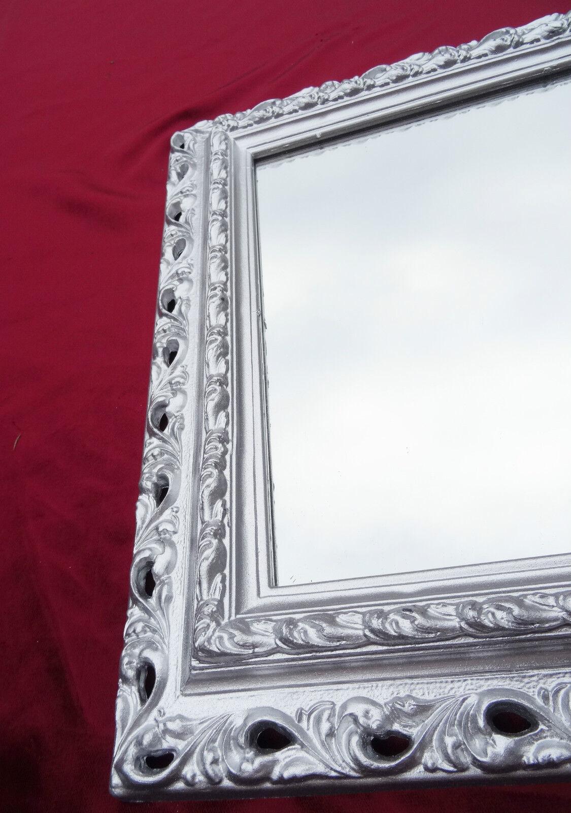wandspiegel 43x36 spiegel barock rechteckig repro silber bilderrahmen arabesco 4 ebay. Black Bedroom Furniture Sets. Home Design Ideas