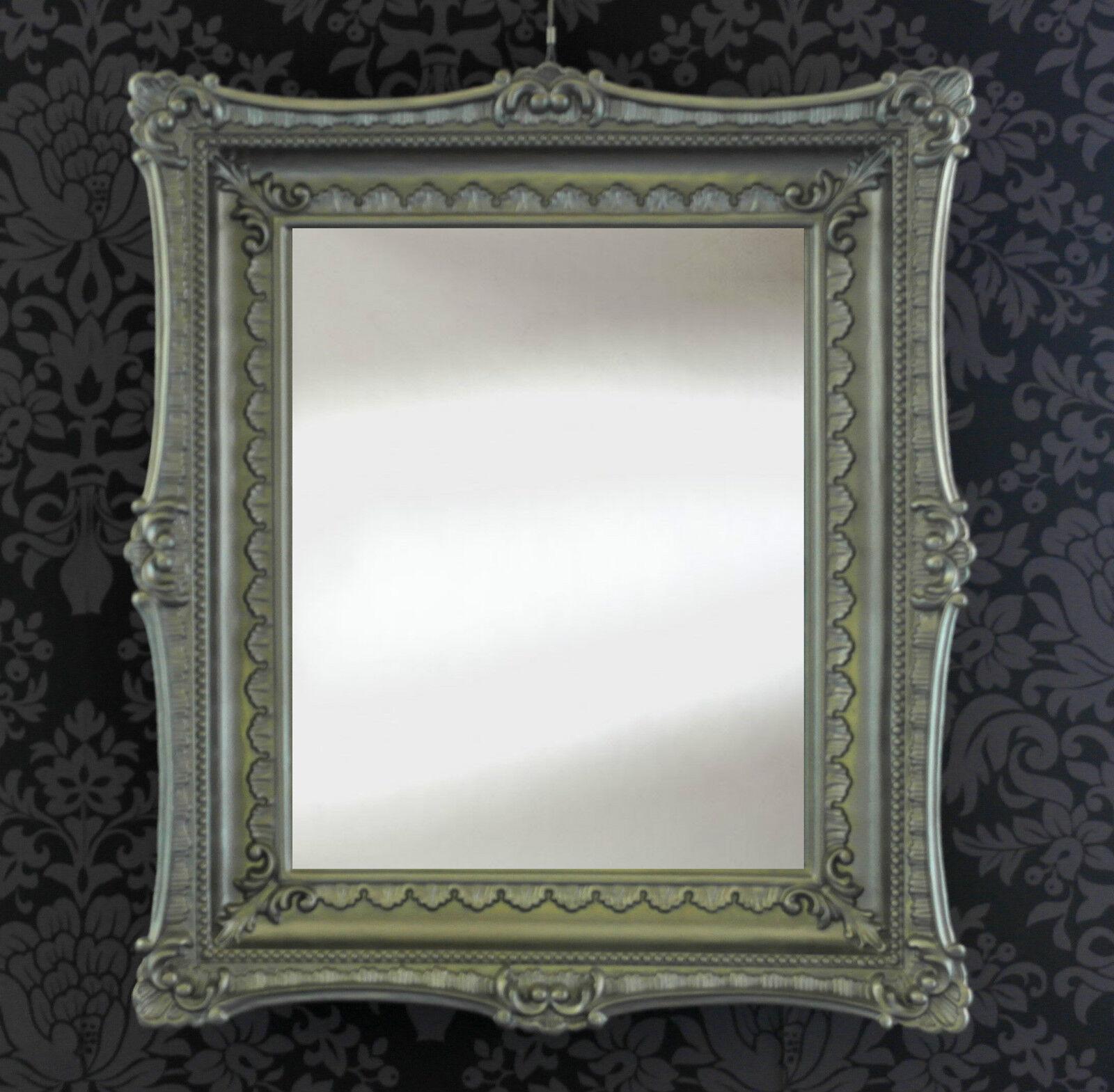 wandspiegel antik rokoko 70x60 barock repro altsilber antiksilber spiegel neu ebay. Black Bedroom Furniture Sets. Home Design Ideas