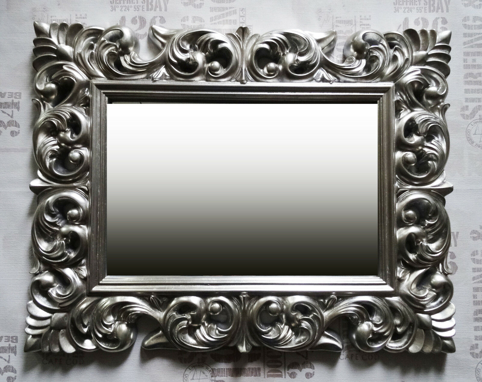 Wall mirror antique rococo 90x70 baroque in silver for Miroir 90 x 70