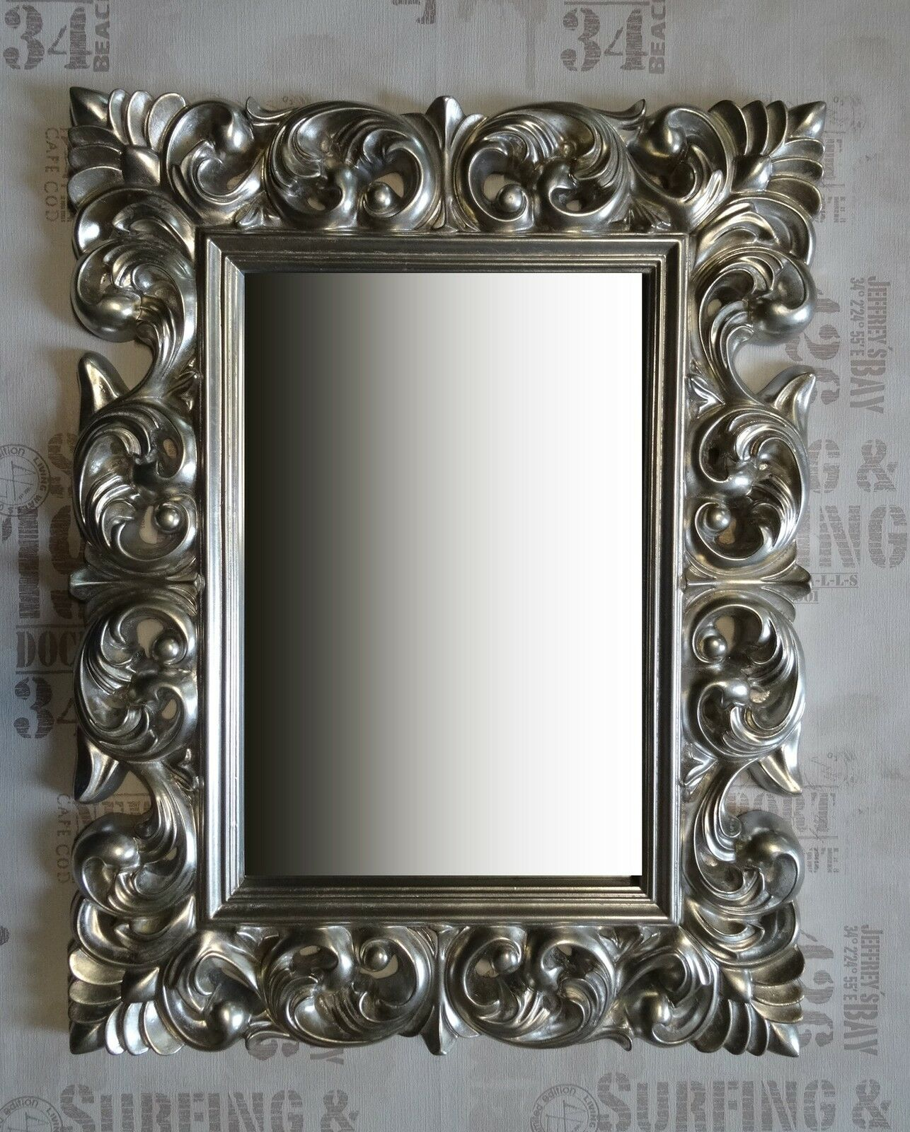 Wall mirror antique rococo 90x70 baroque in silver for Plastic baroque mirror