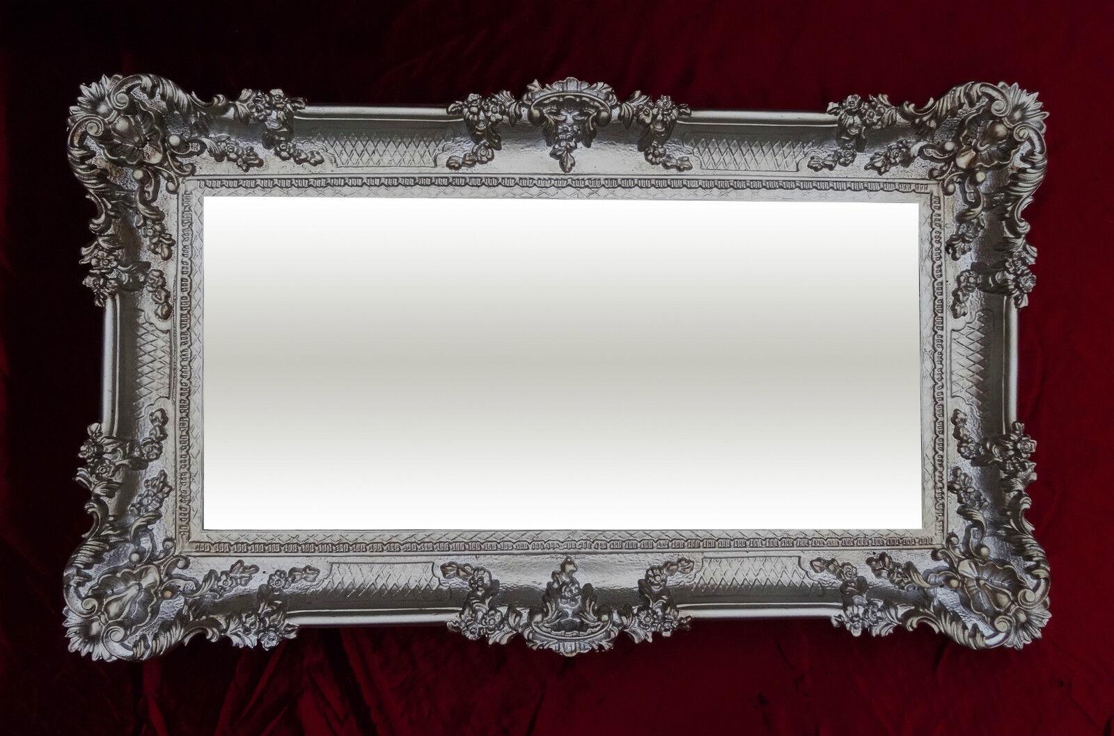 xxl barock wandspiegel altsilber 96x57 cm antik rokoko. Black Bedroom Furniture Sets. Home Design Ideas