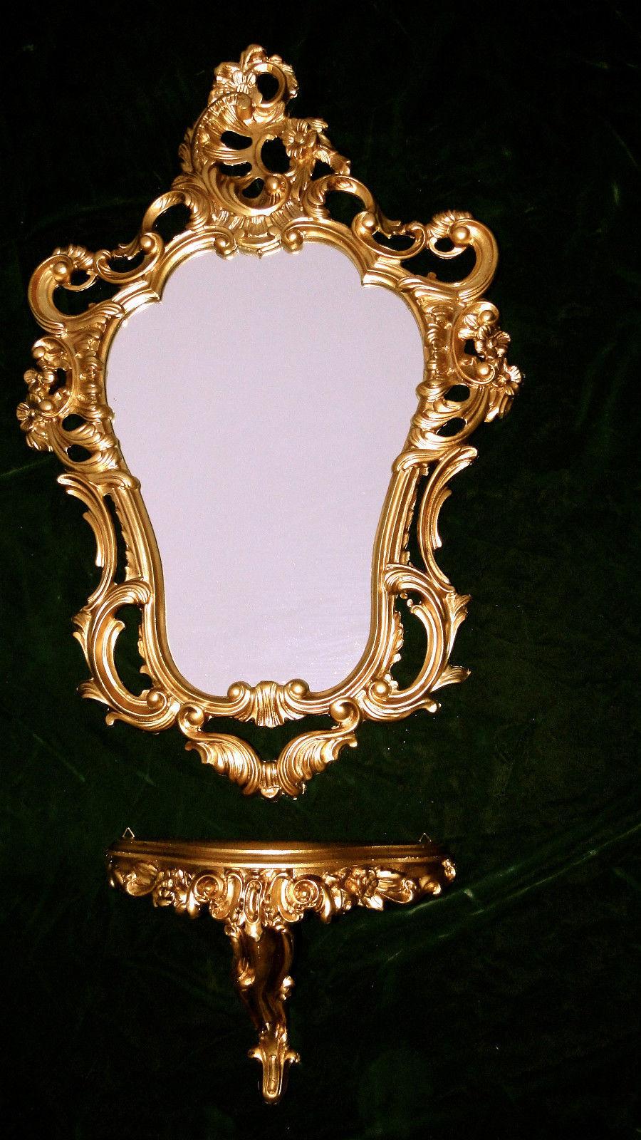 wandspiegel ablage spiegelablage konsole set m spiegel 50x76 antik barock gold ebay. Black Bedroom Furniture Sets. Home Design Ideas