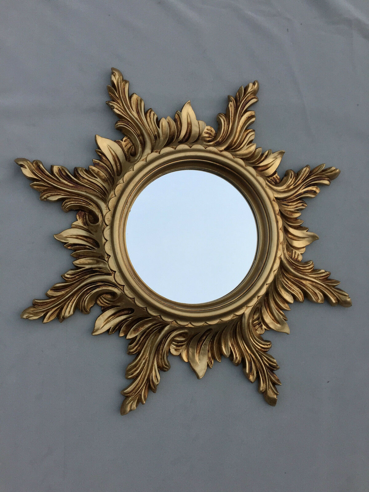 wandspiegel barock gold spiegel sonne 50cm massiv badspiegel sun mirror c495 ebay. Black Bedroom Furniture Sets. Home Design Ideas