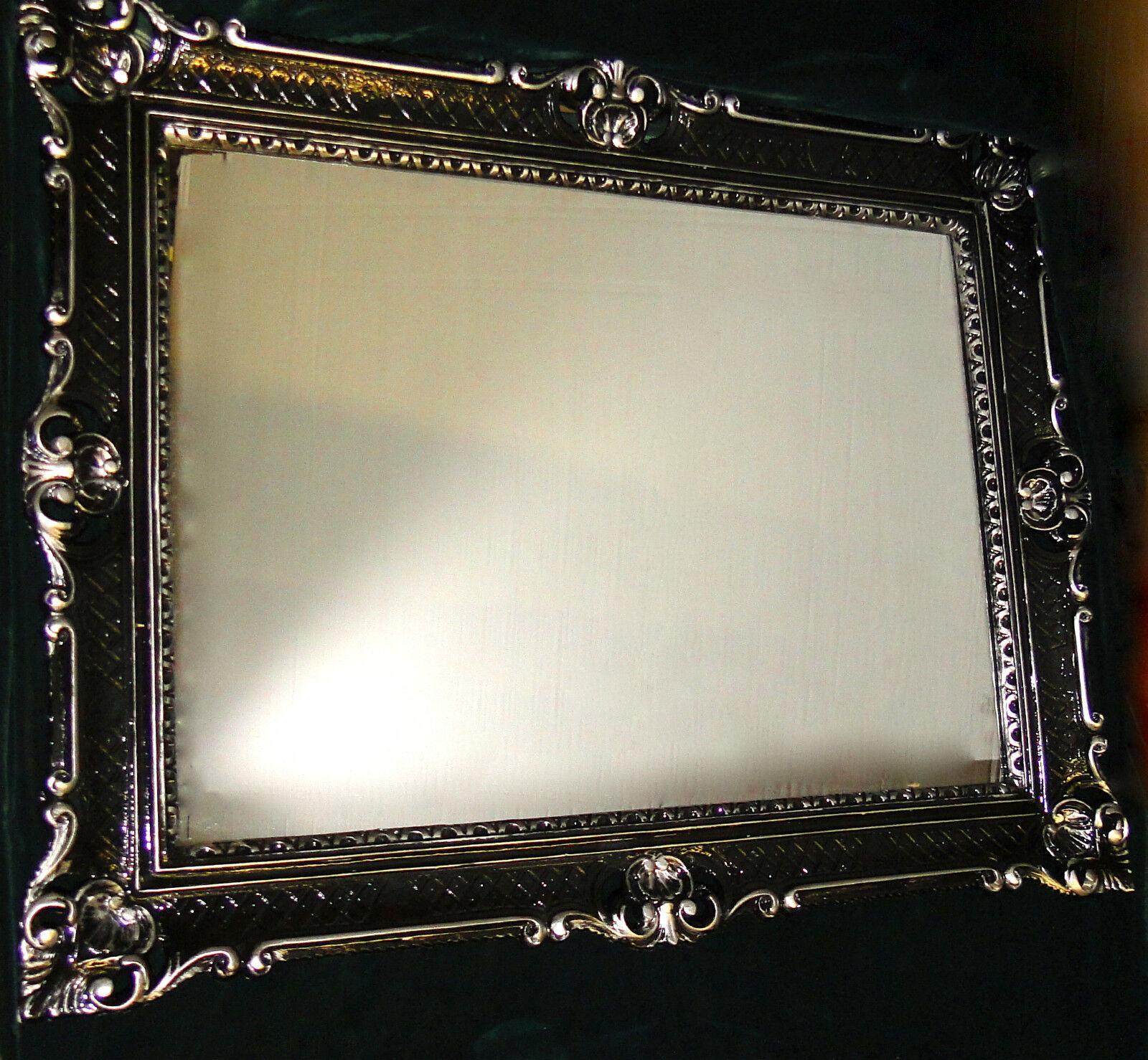 wandspiegel barock gro er spiegel schwarz silber hochglanz 90x70 rahmen antik ebay. Black Bedroom Furniture Sets. Home Design Ideas