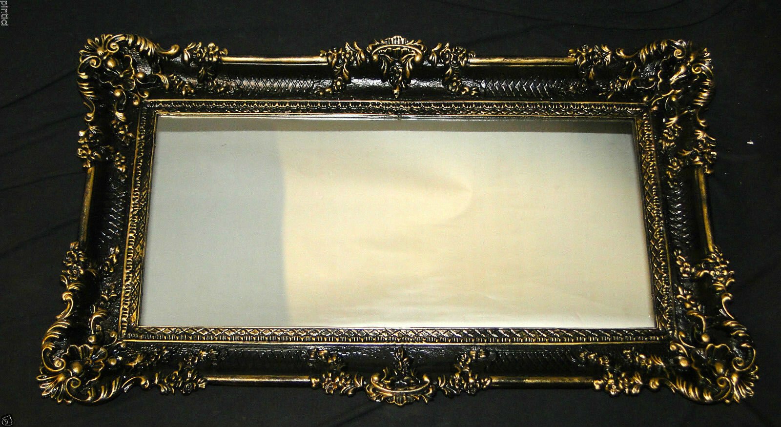 baroque wall mirror black gold mirror wall deco deco 97x57 antique big ebay. Black Bedroom Furniture Sets. Home Design Ideas