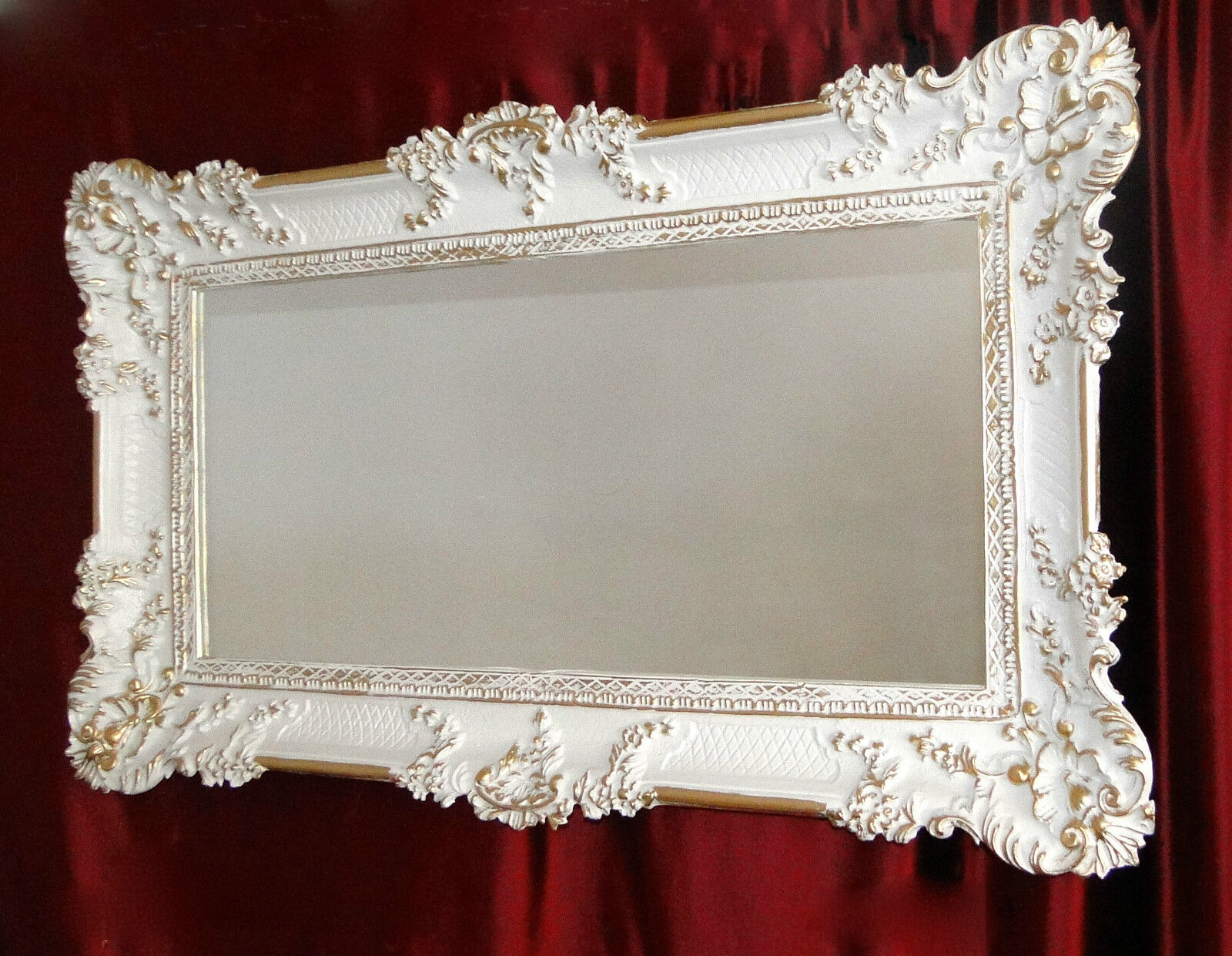 Wall mirror white gold baroque antique 97x57 big for Deco baroque