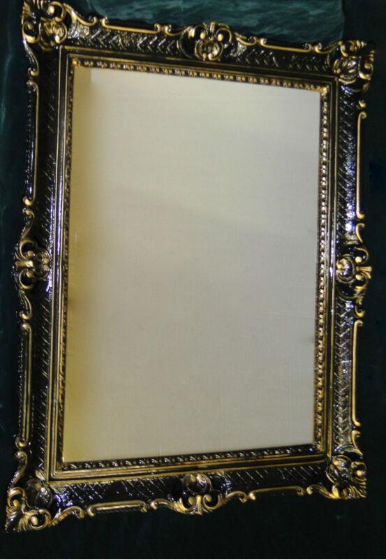 spiegel antik wandspiegel barock xxl spiegel schwarz gold rahmen hochglanz 90x70 ebay. Black Bedroom Furniture Sets. Home Design Ideas