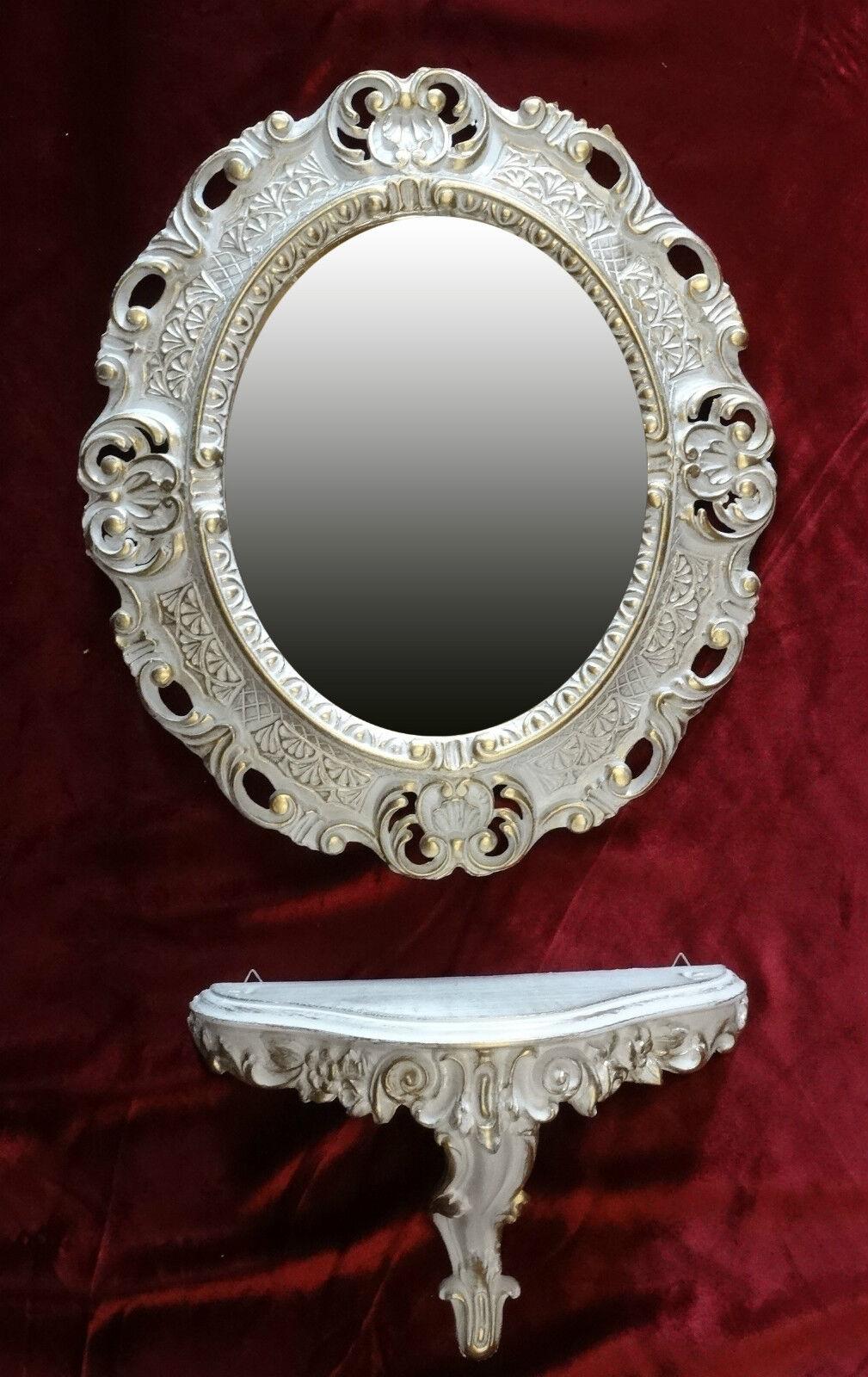Wandspiegel konsole oval wandkonsole set barock antik 44x38 wei gold 1 ebay - Wandspiegel oval ...