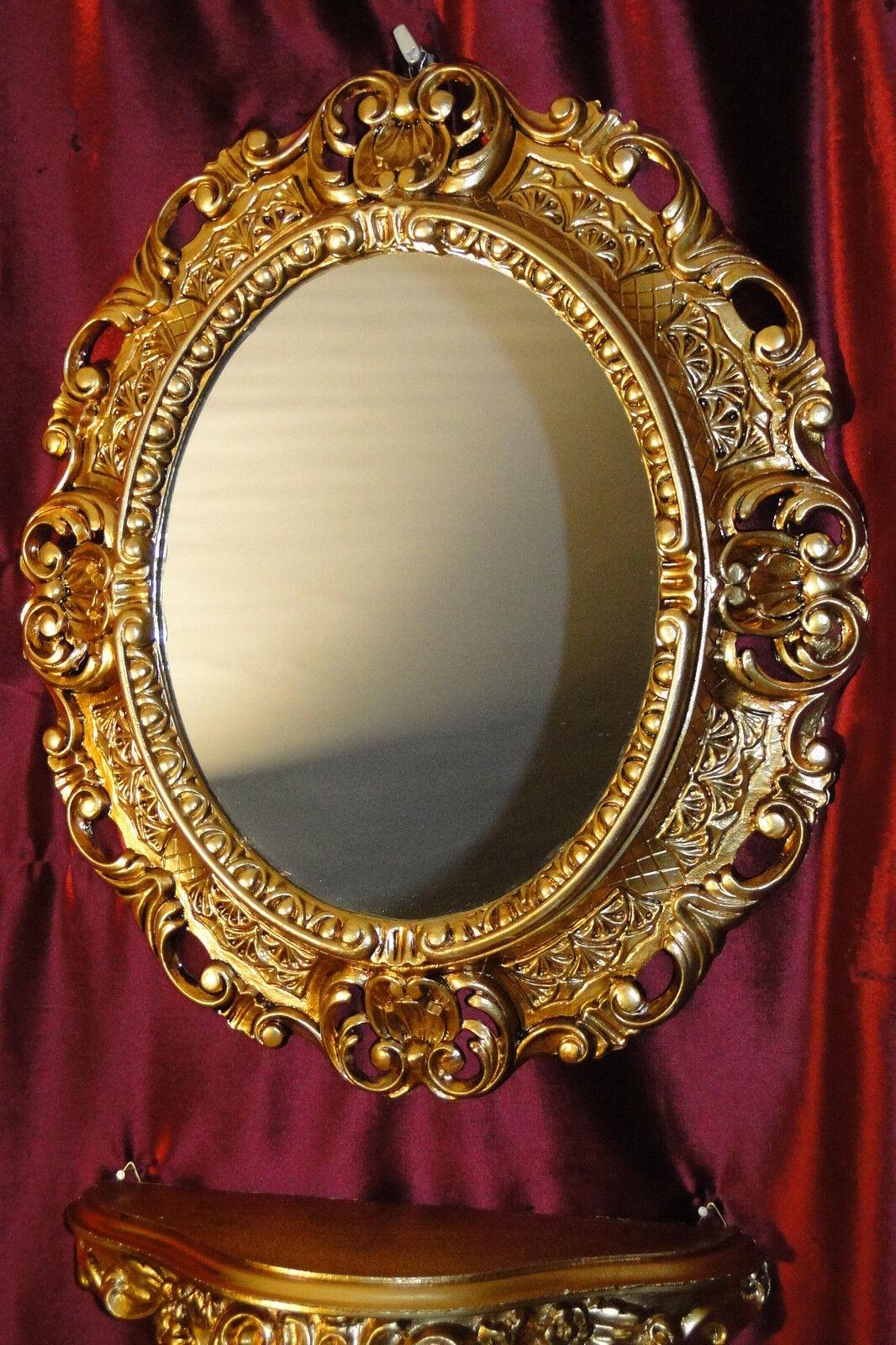 wandspiegel konsole oval wandkonsole set barock antik gold 44x38 badspiegel 1. Black Bedroom Furniture Sets. Home Design Ideas