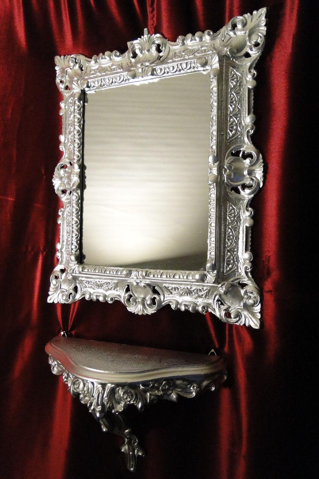 miroir mural console argent set baroque antique 44x38 de. Black Bedroom Furniture Sets. Home Design Ideas