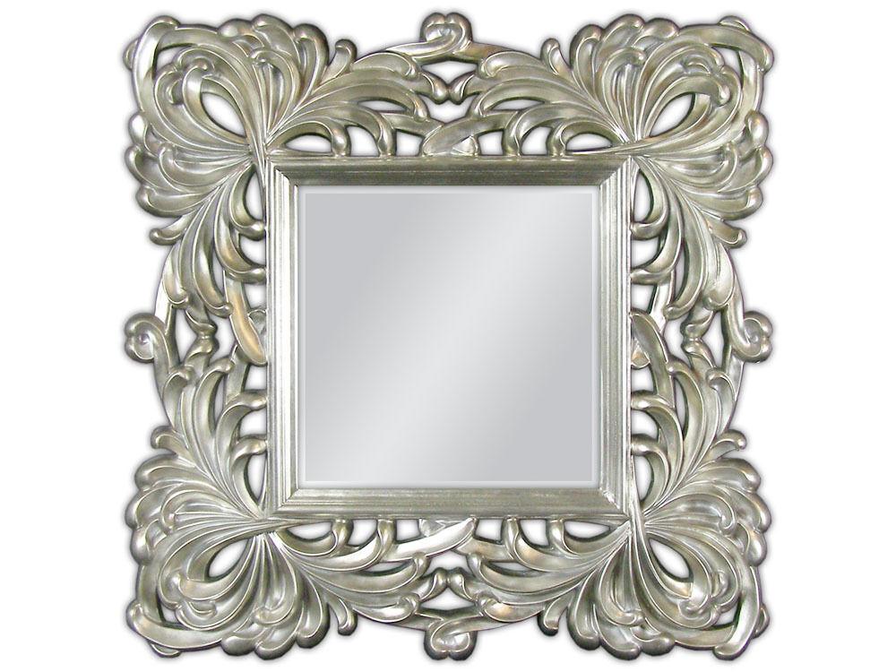 Specchio Muro Con Cornice 100x100 Quadrato Barocco Argento