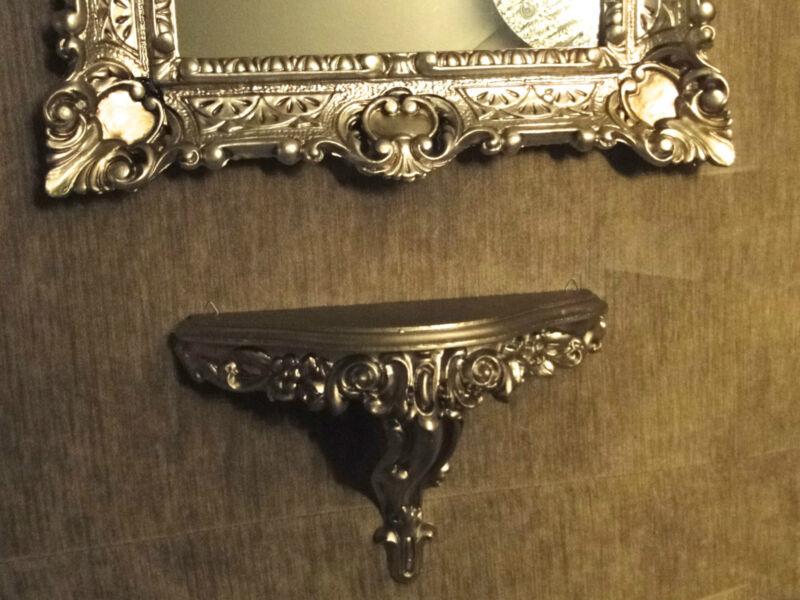 wandspiegel rechteckig mit konsole spiegelablage 56x46 barock antik silber 3049 ebay. Black Bedroom Furniture Sets. Home Design Ideas