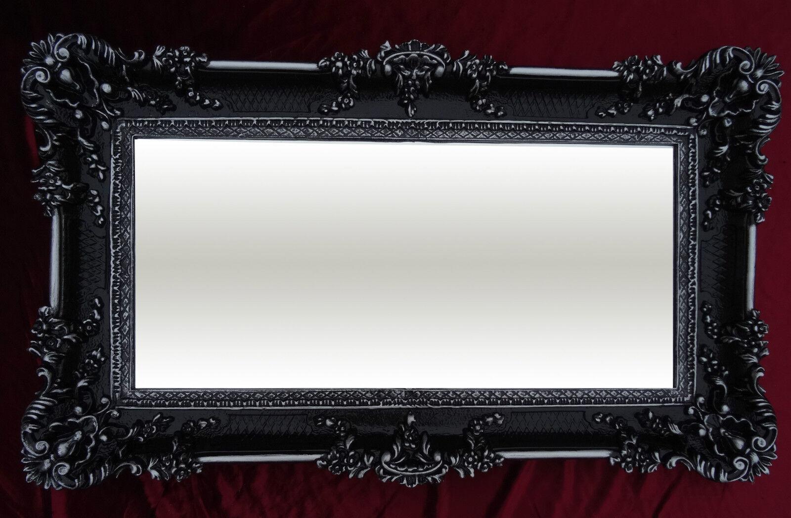 xxl renaissance wandspiegel schwarz silber barock wanddeko repro spiegel 96x57 ebay. Black Bedroom Furniture Sets. Home Design Ideas