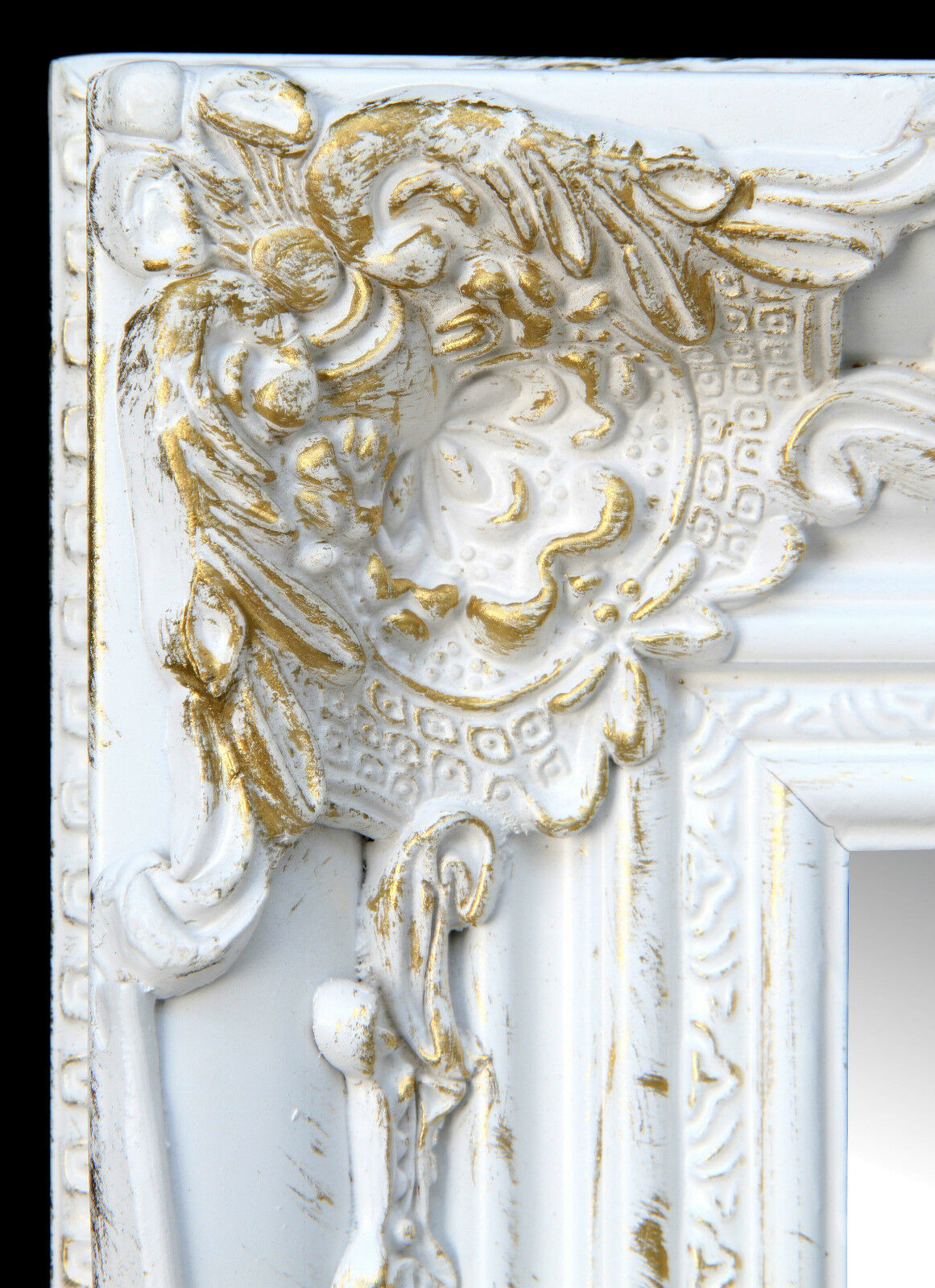 wall mirror rectangular white gold floor baroque antique. Black Bedroom Furniture Sets. Home Design Ideas